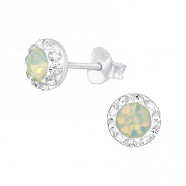 Round - 925 Sterling Silver Ear Studs with Crystal stones A4S39423