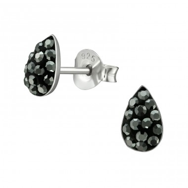 Pear - 925 Sterling Silver Ear Studs with Crystal stones A4S39519