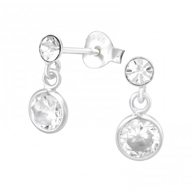 Hanging Round - 925 Sterling Silver Ear Studs with Crystal stones A4S39532