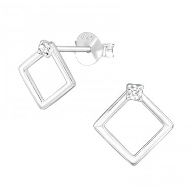 Square - 925 Sterling Silver Ear Studs with Crystal stones A4S39576