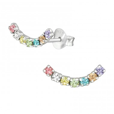 Curve - 925 Sterling Silver Ear Studs with Crystal stones A4S39581
