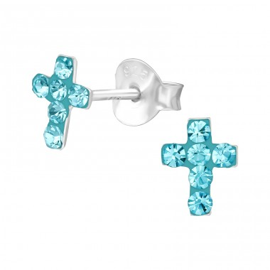 Cross - 925 Sterling Silver Ear Studs with Crystal stones A4S39626