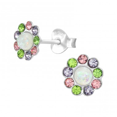 Flower - 925 Sterling Silver Ear Studs with Crystal stones A4S39632