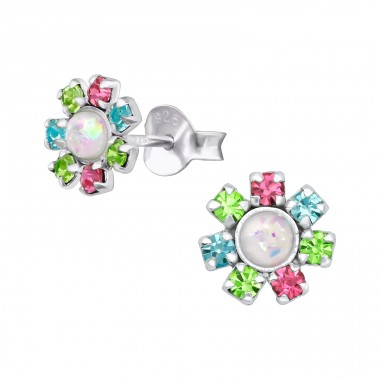 Flower - 925 Sterling Silver Ear Studs with Crystal stones A4S39643