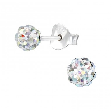 Ball - 925 Sterling Silver Ear Studs with Crystal stones A4S39772