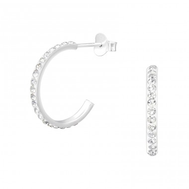 Half Hoop - 925 Sterling Silver Ear Studs with Crystal stones A4S39874