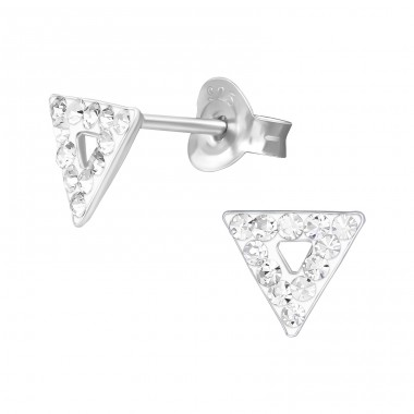 Triangle with triangle hole inside - 925 Sterling Silver Ear Studs With Crystal Stones A4S39879