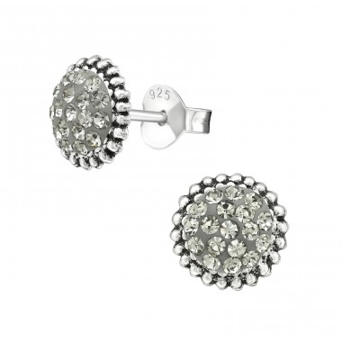 Round - 925 Sterling Silver Ear Studs with Crystal stones A4S39951