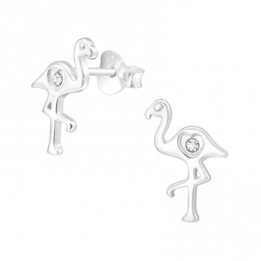 Flamingo - 925 Sterling Silver Ear Studs with Crystal stones A4S40014