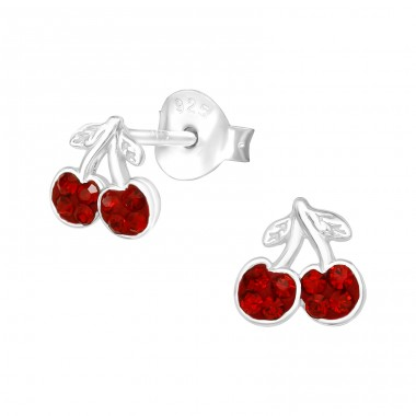 Cherry - 925 Sterling Silver Ear Studs with Crystal stones A4S40047