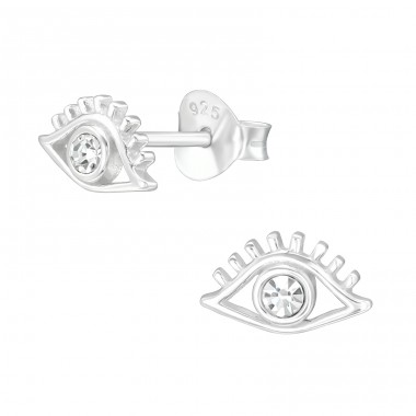 Evil Eye - 925 Sterling Silver Ear Studs with Crystal stones A4S40084