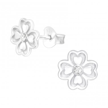 Lucky Clover - 925 Sterling Silver Ear Studs with Crystal stones A4S40135