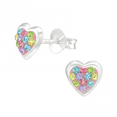 Heart - 925 Sterling Silver Ear Studs with Crystal stones A4S40283