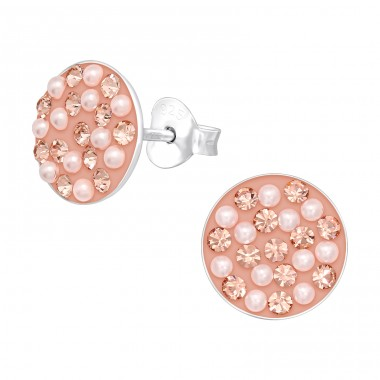 Round - 925 Sterling Silver Ear Studs with Crystal stones A4S40668
