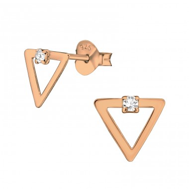 Rose Triangle with crystal - 925 Sterling Silver Ear Studs With Crystal Stones A4S40907