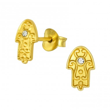 Golden Hamsa - 925 Sterling Silver Ear Studs With Crystal Stones A4S40973