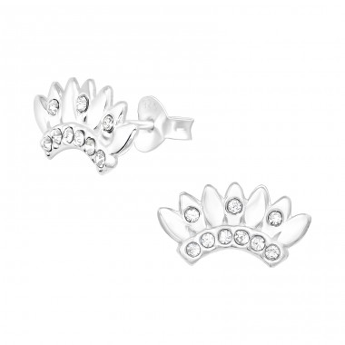 Crown - 925 Sterling Silver Ear Studs with Crystal stones A4S40984