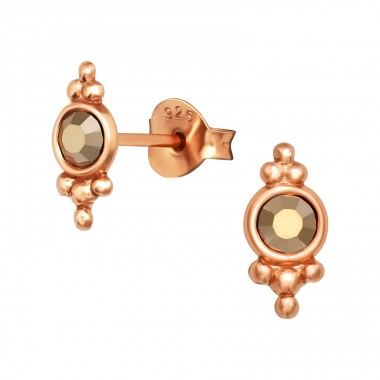 Rosegold Antique with crystal - 925 Sterling Silver Ear Studs With Crystal Stones A4S40990