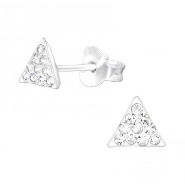 Triangle - 925 Sterling Silver Ear Studs with Crystal stones A4S41020