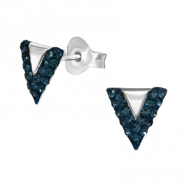 Triangle - 925 Sterling Silver Ear Studs with Crystal stones A4S41023