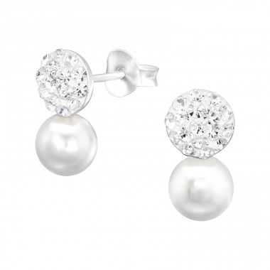 Double Ball Crystal and Pearl - 925 Sterling Silver Ear Studs With Crystal Stones A4S41024
