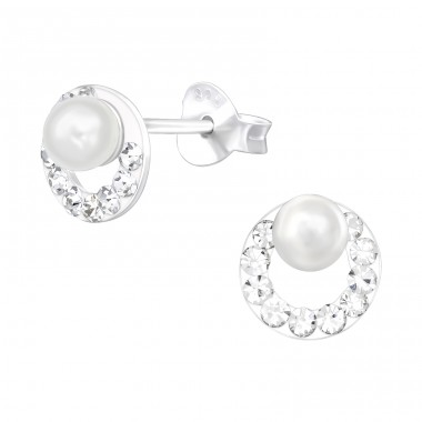 Circle with pearl and crystals - 925 Sterling Silver Ear Studs With Crystal Stones A4S41081