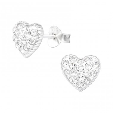 Heart - 925 Sterling Silver Ear Studs with Crystal stones A4S41106