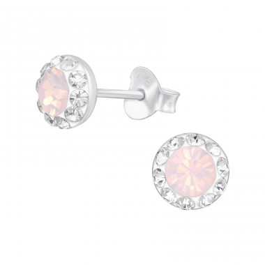 Round - 925 Sterling Silver Ear Studs with Crystal stones A4S41120