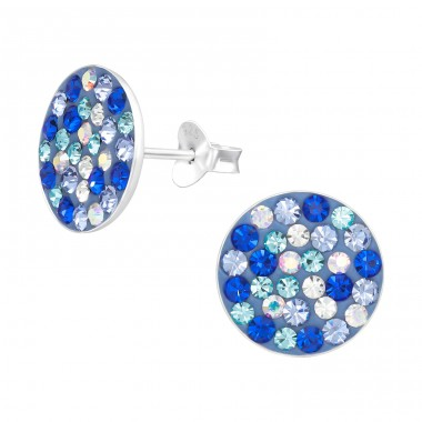 Round - 925 Sterling Silver Ear Studs with Crystal stones A4S41134