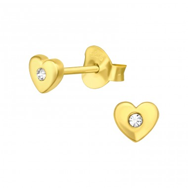 Golden Heart with crystal - 925 Sterling Silver Ear Studs With Crystal Stones A4S41137