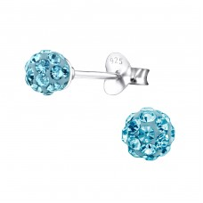 Ball - 925 Sterling Silver Ear Studs with Crystal stones A4S4128