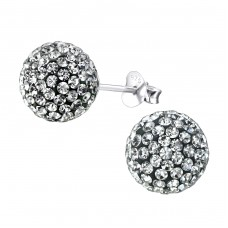 Ball - 925 Sterling Silver Ear Studs with Crystal stones A4S4131