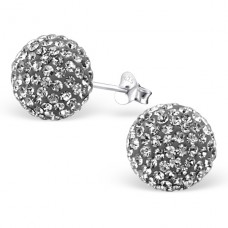 Ball - 925 Sterling Silver Ear Studs with Crystal stones A4S4132