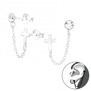Cross With Hanging Chain - 925 Sterling Silver Ear Studs with Crystal stones A4S41450