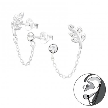 Leaf With Hanging Chain - 925 Sterling Silver Ear Studs with Crystal stones A4S41451