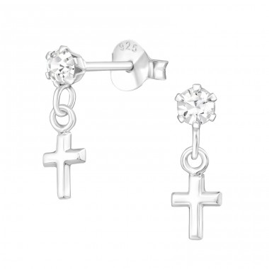 Hanging Cross - 925 Sterling Silver Ear Studs with Crystal stones A4S41597