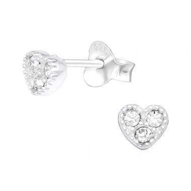 Heart - 925 Sterling Silver Ear Studs with Crystal stones A4S42156