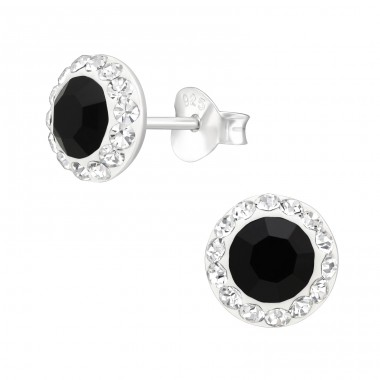 Round - 925 Sterling Silver Ear Studs with Crystal stones A4S42184