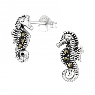 Seahorse with crystals - 925 Sterling Silver Ear Studs With Crystal Stones A4S42239