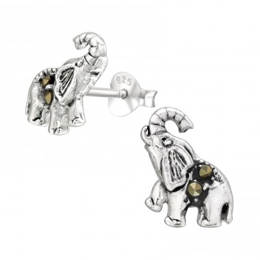 Elephant with Hematite crystals - 925 Sterling Silver Ear Studs With Crystal Stones A4S42241