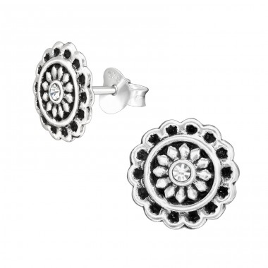 Oxidized Flower with crystal - 925 Sterling Silver Ear Studs With Crystal Stones A4S42270