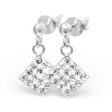 Square - 925 Sterling Silver Ear Studs with Crystal stones A4S4640