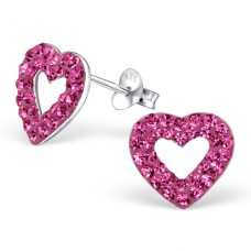 Heart - 925 Sterling Silver Ear Studs with Crystal stones A4S5329