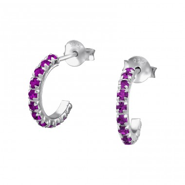 Semi Hoops - 925 Sterling Silver Ear Studs with Crystal stones A4S5652