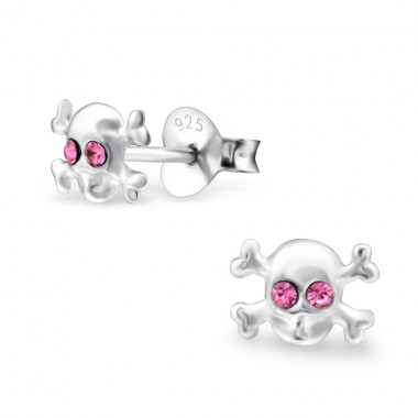 Skull - 925 Sterling Silver Ear Studs with Crystal stones A4S5932