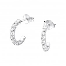 Semicircle - 925 Sterling Silver Ear Studs with Crystal stones A4S768