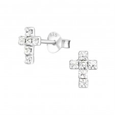 Cross - 925 Sterling Silver Ear Studs with Crystal stones A4S776