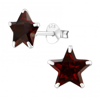 Star 8mm - 925 Sterling Silver Basic Ear Studs A4S1016