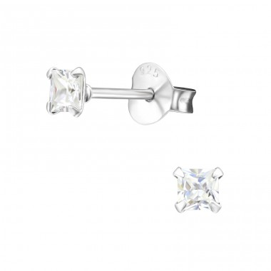Square 3mm - 925 Sterling Silver Ear Studs with Zirconia stones A4S10386