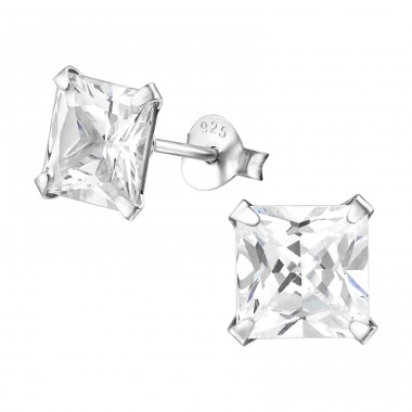 Square 7mm - 925 Sterling Silver Ear Studs with Zirconia stones A4S11611